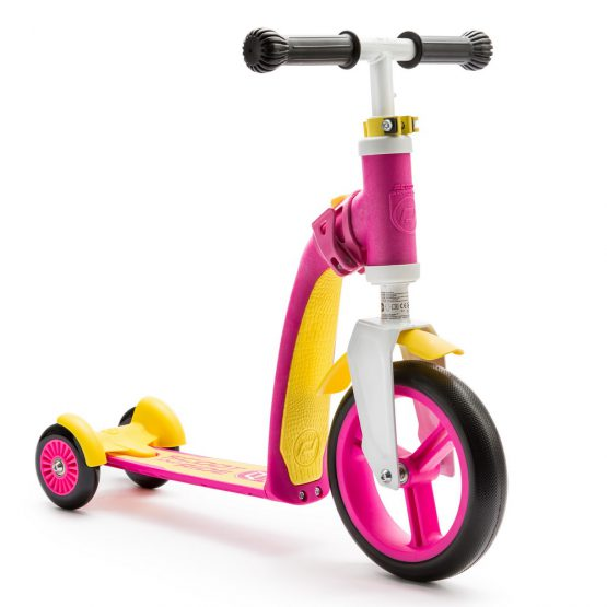 Детска тротинетка Scoot & Ride Highwaybaby+ 2 в 1, Розово/Жълта