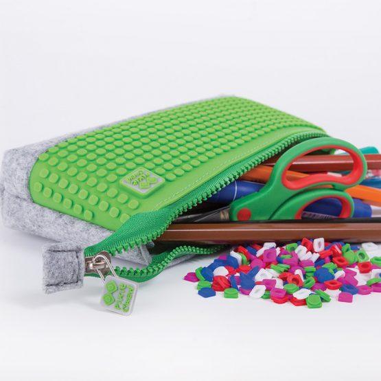 Несесер за моливи Pixie Crew PXA01, сив/зелен