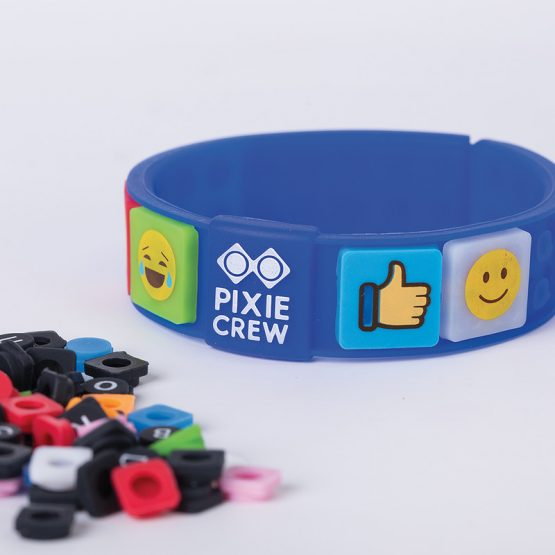 Силиконова гривна Pixie Crew PXX02, синя/EMOJI
