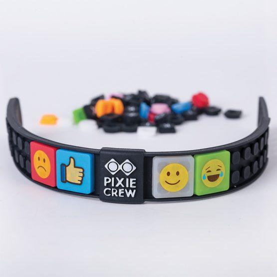 Силиконова гривна Pixie Crew PXX02, черна/EMOJI