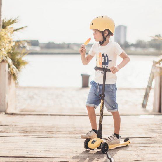 Детска тротинетка Scoot & Ride Highwaykick 3 LED, Сгъваема, Лимон