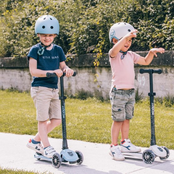 Детска тротинетка Scoot & Ride Highwaykick 3 LED, Сгъваема, Стоманено синя