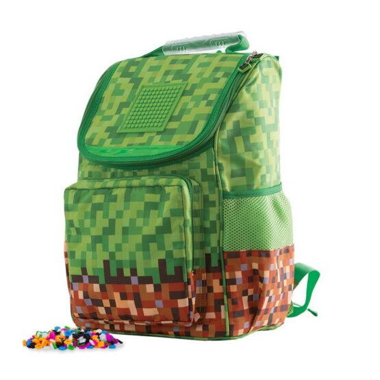 Ученическа раница Pixie Crew PXB-22-83 подходяща за деца от 1 клас, зелена, Minecraft
