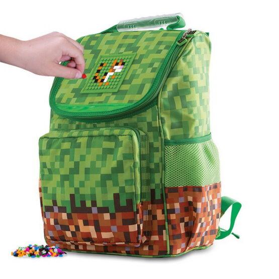 Детска раница Pixie Crew PXB-22, Зелено каре Minecraft
