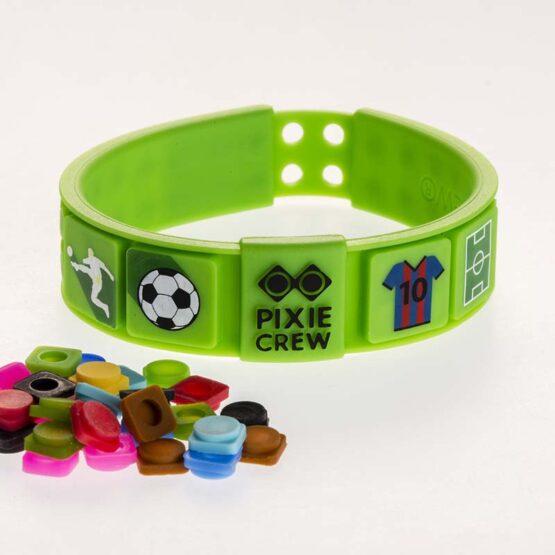 Силиконова гривна Pixie Crew PXX02, зелена/Футбол