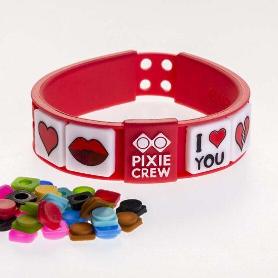 Силиконова гривна Pixie Crew PXX02, червена/Love