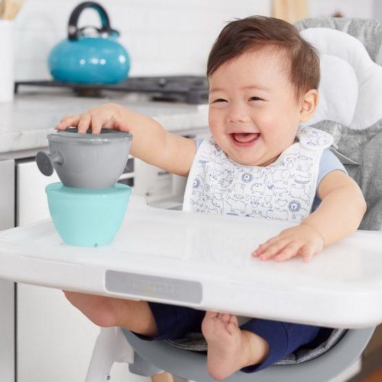 Комплект бебешки купички за хранене Skip Hop - 2 броя, сиво-тюркоаз
