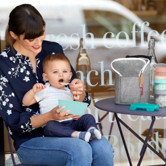 Бебешка купичка и лъжичка за хранене Skip Hop, тюркоаз