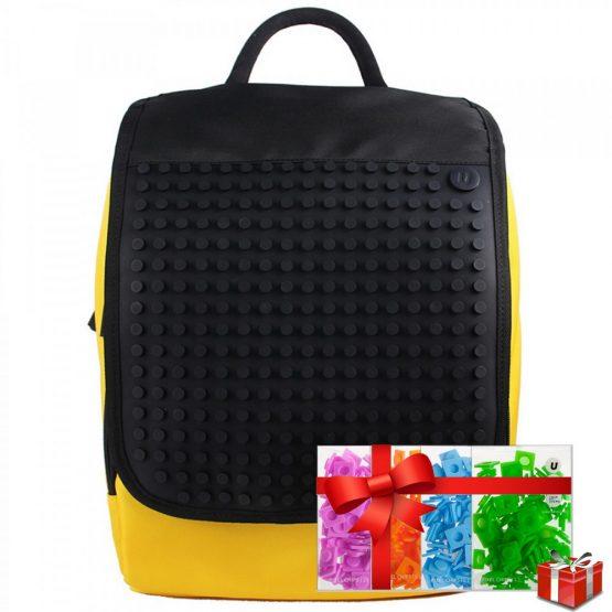 Креативна раница с пиксели Upixel A010, жълта с черен панел +ПОДАРЪК