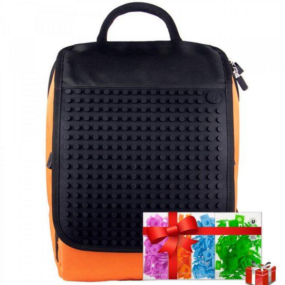 Креативна раница с пиксели Upixel A010, оранжева с черен панел + ПОДАРЪК