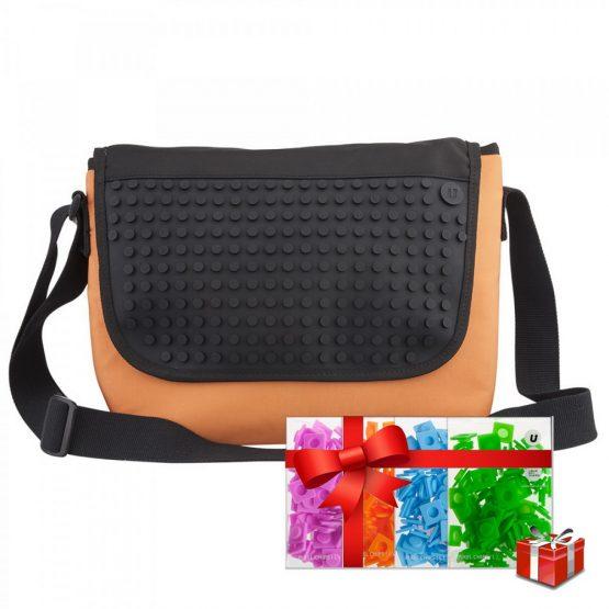 Креативна чанта с пиксели Upixel Messenger, оранжева с черен панел +ПОДАРЪК
