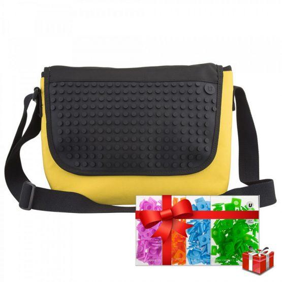 Креативна чанта с пиксели Upixel Messenger, жълта с черен панел +ПОДАРЪК