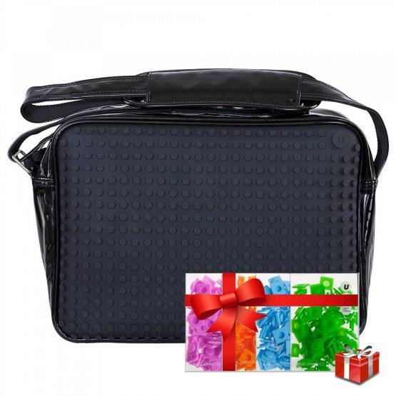 Креативна чанта с пиксели Upixel Messenger, черен лак +ПОДАРЪК