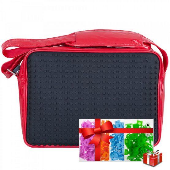 Креативна чанта с пиксели Upixel Messenger, червена с черен панел +ПОДАРЪК