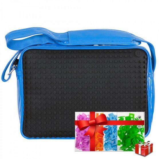 Креативна чанта с пиксели Upixel Messenger, син лак с черен панел +ПОДАРЪК