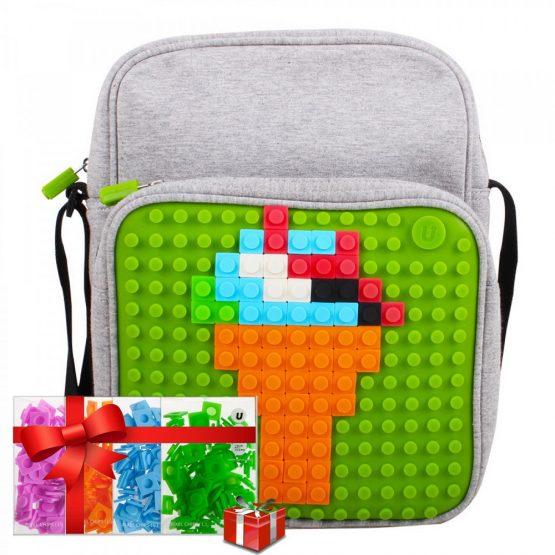 Креативна чанта за рамо с пиксели Upixel, сива съз зелен панел +ПОДАРЪК