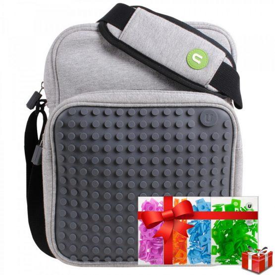 Креативна чанта за рамо с пиксели Upixel, сива +ПОДАРЪК