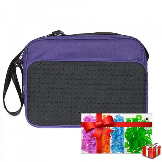 Креативна чанта с пиксели Upixel Messenger, лилава с черен панел +ПОДАРЪК